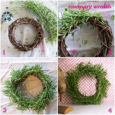 Rosemary wreaths for Christmas decor. Something to do with our huge plant. Will add dried lavender!