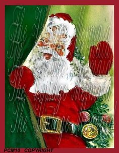 Santa Claus is Watching You Cotton Fabric by mermaidfabricshop, $6.99