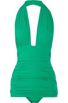 green halter one piece bathing suit