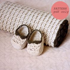 Instant download - Blanket Crochet PATTERN (pdf file) - Choco Baby Blanket and Booties