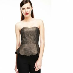 Only $25!  Just listed: Metallic Peplum Top.  Get in before it's gone @Escueladebloggers Cursos Closet www.bloggerscloset.com #ShopBloggersCloset