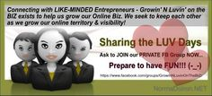 ➽ ➽ ➽ Growin' N Lovin' on the BIZ: Private FB Group for ANYONE wanting to take their Business to another level! Send me a message HERE : https://www.facebook.com/TheMediaChamp.wNormaDoironwww.facebook.com/..., if this is YOU and you're in... ✔ No fee.
