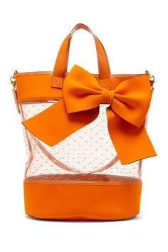 Sheer Lace Bow  Orange Tote