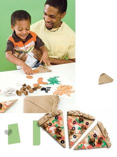 Paper Pizza! Make pizza dough out of a brown paper bag, then glue on paper toppings (green peppers, red tomatoes). Sorting, counting and storytelling fun for little ones!