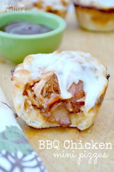 BBQ Chicken Mini Pizzas - made in muffin tins!