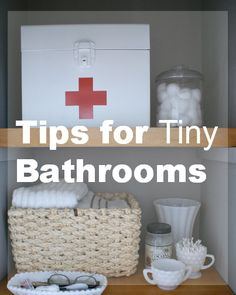 """Tips and tricks for how we """"deal"""" with a very small bathroom. Plus a DIY vintage inspired first aid kit box. #organization #bathrooms #diy"""