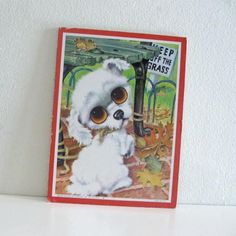 Vintage 1960s endearing big eyed white 'pity puppy' by Gig/Gia.   Gig painted the pity puppies (and kittens) in the 1960s when many Artists like Keane, Igor, Eden, Lee, and many others were creating big eyed/sad eyed children and animal art works
