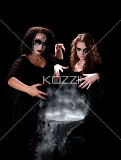 witches by cauldron - Pair of witches by a smoking cauldron- MUA: Amanda Wynne - www.awynnemakeup.com