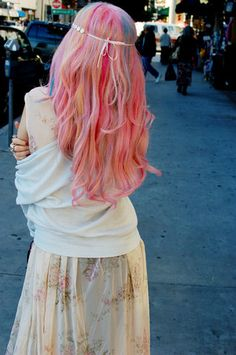 Pastel rainbow hair from the back :)