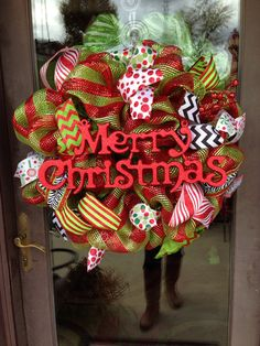 Merry Christmas deco mesh wreath on Etsy, $65.00