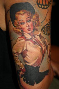 tattoo idea, tattoo swag, pin up tattoos, cowgirl pin, girl tattoo