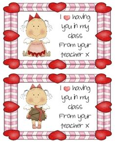 Very cute cards for teachers to send to their kiddos. Print on card or laminate for durability. These cards have two different designs of cute Vale...