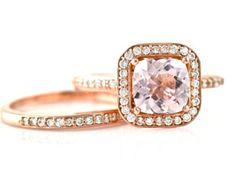 14K Cushion Morganite Ring Morganite Engagement Ring & Wedding Band Diamond Halo Rose Gold Wedding Set www.finditforweddings.com