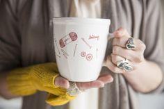 Hand drawn knitted mug