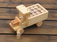 Wooden Pickup Truck with Barrel Load by KPTCO on Etsy, $45.00