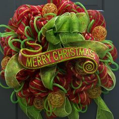 Merry Christmas Scroll Sign Deco Mesh Holiday Wreath