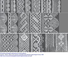 Bizde ki adı iğne oyası yada iğne danteli Prickings and English instructions for these patterns.  *Part II*  Sime, A. M. Torchon Lace-Work, Rai Sahib M. Gulab Singh & Sons, 1909  http://www.cs.arizona.edu/patterns/weaving/books/sam_tor2.pdf