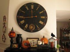 halloween decorations, fall mantels, old clocks, fireplace mantels, mantle decorating, wall clocks, halloween decorating ideas, decor idea, wood walls
