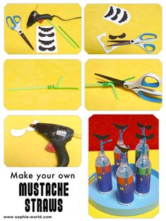 Add fake mustaches to pipe cleaners, wrap them around a drinking straw, and you've got a fake mustache you wear as you sip!