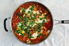Shakshuka with Feta and Cilantro by jewhungry #Shakshuka #Eggs