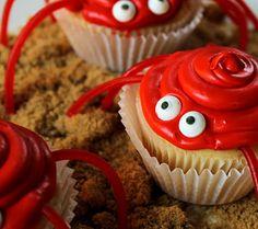 crabs cupcake, cute summer cupcakes, crab cupcakes, crab summer, cupcake recipes, cupcak recip, crawl crab, cakeand cupcak, dessert