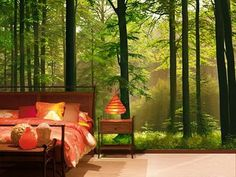 Bedroom Forest Wall Murals Red