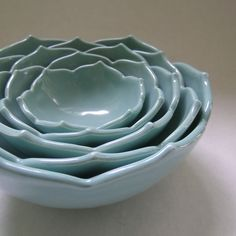Five Ceramic Nesting Lotus Bowls in Robin Egg Blue: Beautifully sculptural and functional! Food and dishwasher safe. $210