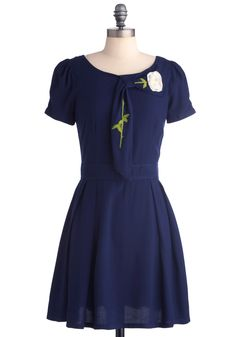 Just Darling Dress by 8000 Nerves - Mid-length, Blue, Green, White, Solid, Embroidery, Flower, Pockets, A-line, Short Sleeves