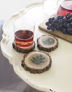wood, coaster, ink pads, trees, tree branches, leaves, recycled crafts, craft ideas, country