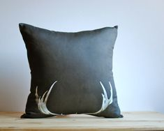Fall Decor - ORGANIC Deer Antler Pillow Sham, Decorative Photo Throw Pillow Cover - Brown Minimalist Rustic Home Decor (Ready to Ship)