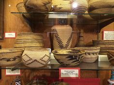 Klamath and Modoc Indian twined baskets. (In the collection of the End of the Trail Museum in Klamath, California--just across the Oregon state line).  Native American art.