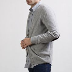 Cashmere Cardigan Grey w/ Patches- Everlane