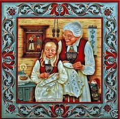 "Norwegian Rosemaling Trivet Tile ""Hardanger Embroidery"" 6"" X 6"" Suzanne Toftey"
