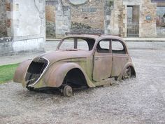 The town of Oradour-sur-Glane was massacred on the 10th of June 1944 with over 600 people killed.  The city was left just as it was that day as a memorial