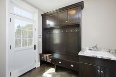 Love this mud room unit with sink