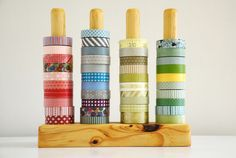 Washi tape storage. Easy to make but I think I'd paint the wood white to show off the colours of the tape