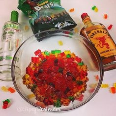 Spicy Vodka Gummy Bears, Green Apple Vodka, Fireball Whisky, Gummy Bears  - via Tipsy Bartender