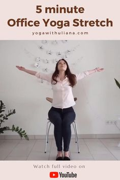 Take a short yoga break to stretch out your body and reset the mind | Yoga for office | No mat yoga | Yoga with Uliana | Chair yoga