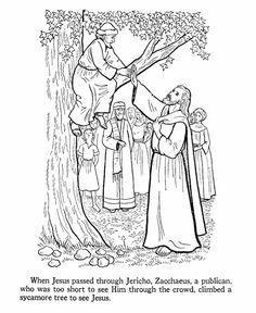 Zacchaeus climbs a tree to see Jesus