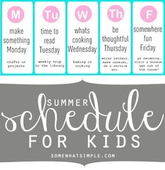 LOVE, love, love this summer schedule for kids! Such a great idea to keep moms sane during the summer! by bianca