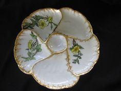 LOVELY ANTIQUE HAND PAINTED HAVILAND LIMOGES OYSTER PLATE | eBay