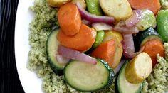 Summer Veggies with Quinoa & Cilantro-Pistachio Pesto