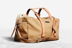 Canvas Shoulder Bag with Leather Straps, Everest Tan SS12