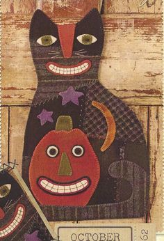 Primitive Folk Art Wool Applique Pattern:  OCTOBER -- CAT