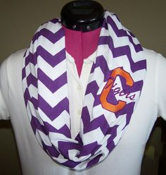 Clemson Tigers Purple and White Monogrammed Chevron Infinity Scarf Game Day Knit Jersey on Etsy, $28.00