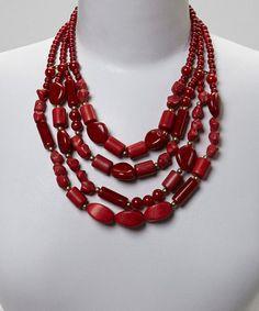 Look at this #zulilyfind! Red Turquoise Multi-Strand Bib Necklace #zulilyfinds