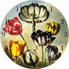 Tulips Vintage Wall Clock