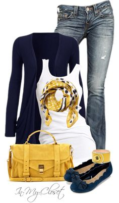 Dark Blue Sweater & Flats with Bows.  White Tank Top.  Yellow Purse & Print Scarf.  Light Blue Jeans.