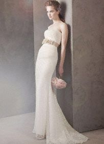 Strapless Draped Lace Column Gown Style VW351044 White by Vera Wang
