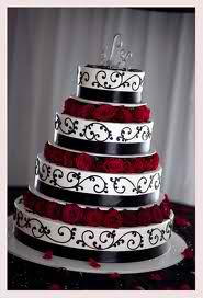 black red and white wedding cake